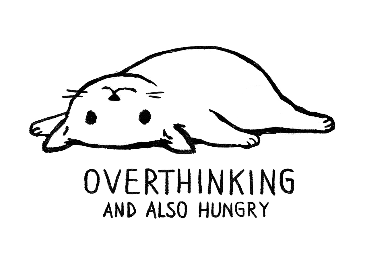OVERTHINKING AND ALSO HUNGRY T-shirt Design by Fox Shiver min