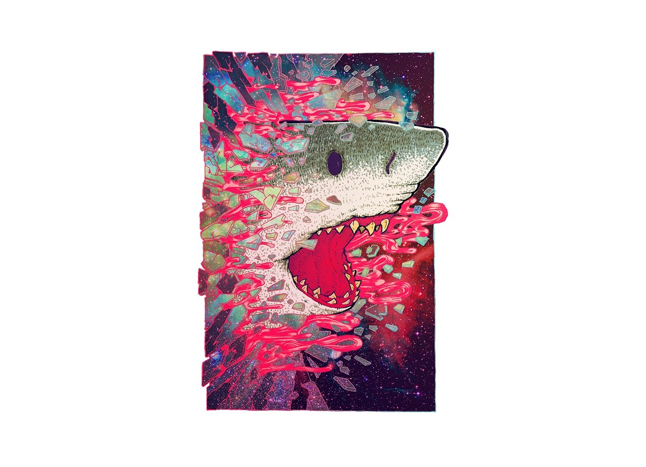 SHARK FROM OUTER SPACE T-shirt Design by Villainmazk