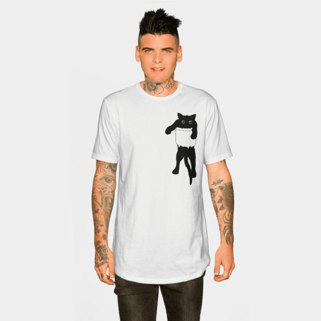 Hang loose black cat pocket art T-shirt Design by tobiasfonseca man