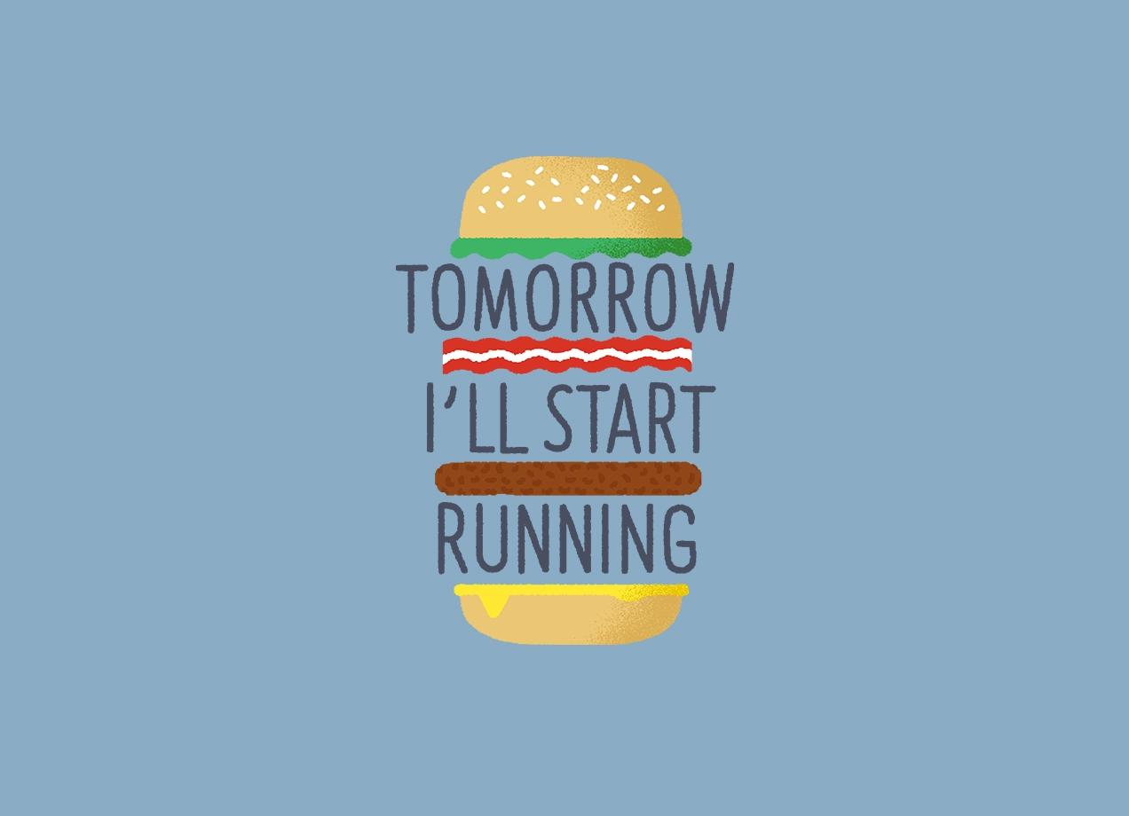 TOMORROW I'LL START RUNNING T-shirt Design by Mauro Gatti main