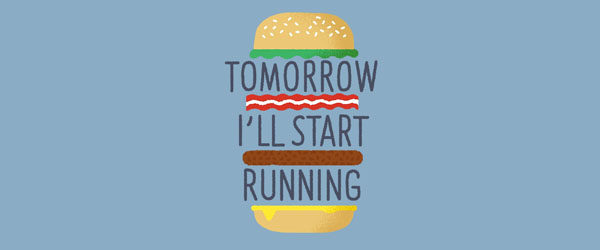 TOMORROW I'LL START RUNNING T-shirt Design by Mauro Gatti maine image