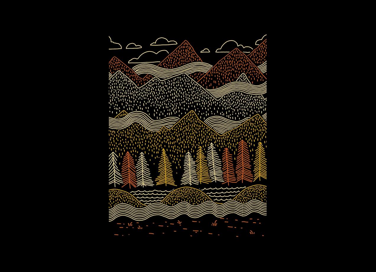 MISTY MOUNTAINS T-shirt Design by Ronan Lynam design