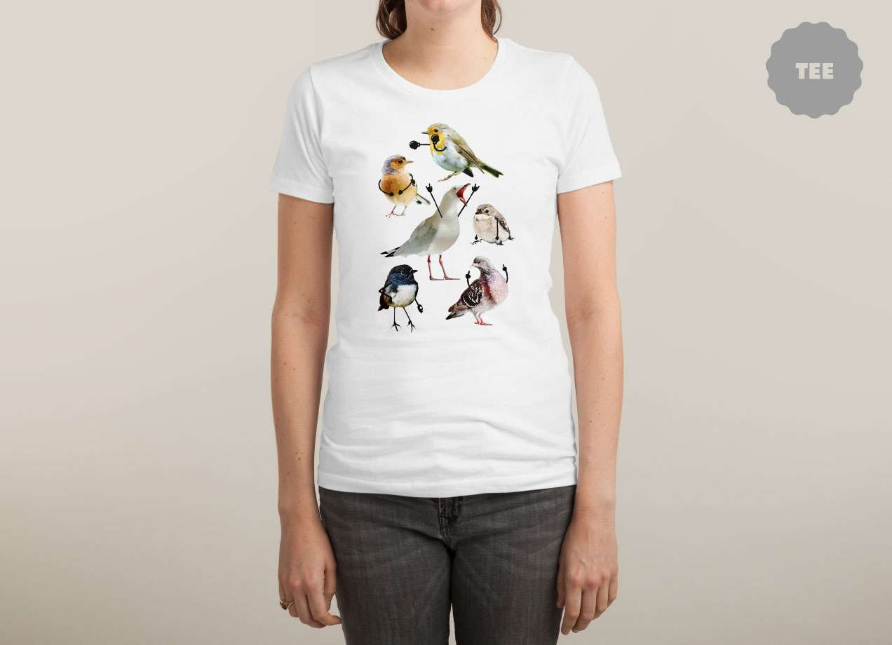BIRDS WITH ARMS T-shirt Design by Nicholas Ginty woman tee