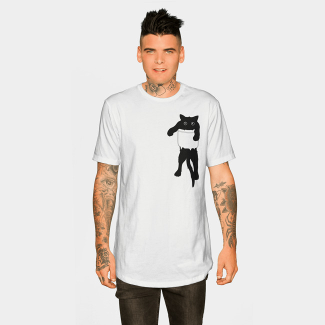 Hang loose black cat pocket art T-shirt Design by happycolours man tee