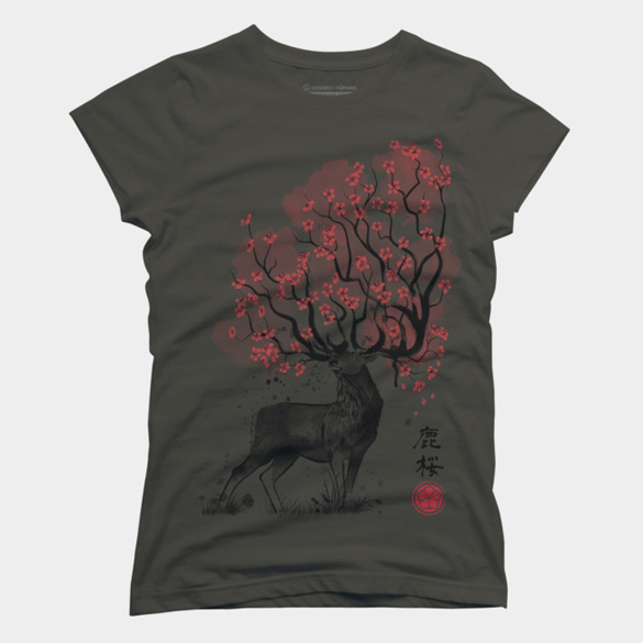 Sakura Deer, t-shirt design by DrMonekers