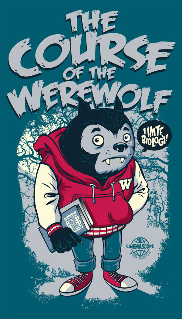 The Course of the Werewolf, t-shirt design by Rubens Scarelli
