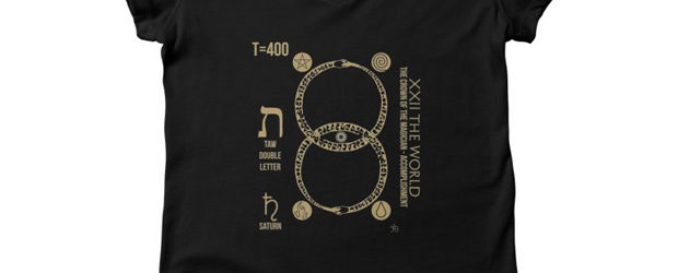 Papus 22 The World Gold on Black t-shirt design