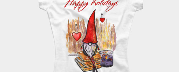 Watercolor Cozy Little Christmas. Happy holidays t-shirt design