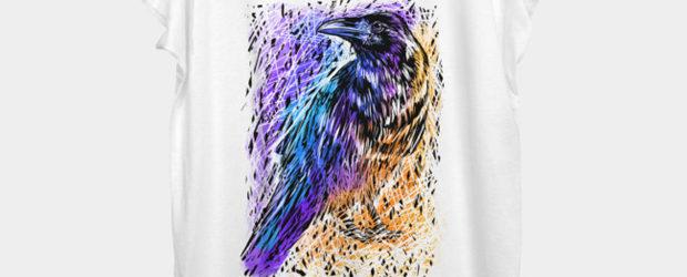 Raven color t-shirt design