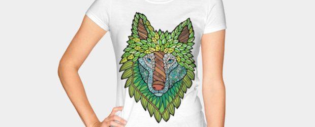 Fantastical Forest Timber-Wolf t-shirt design