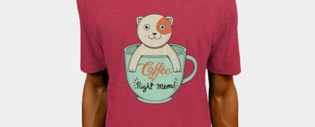 Cat Coffee Right Meow t-shirt design