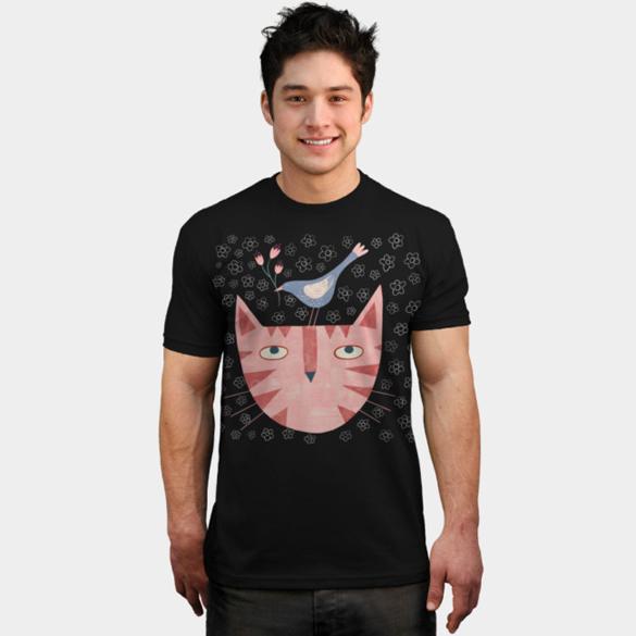 Cat Bird Flower t-shirt design