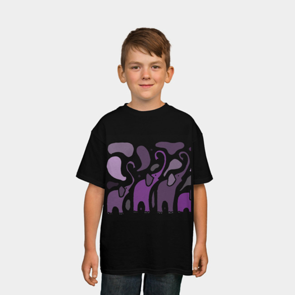 Funny Purple Elephants Art Abstract t-shirt design