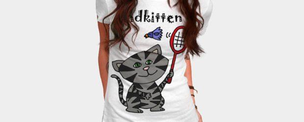 Cool Funny Bad Kitten Playing Badminton t-shirt design