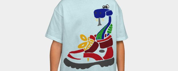 Funky Snake in Hiking Boot t-shirt design