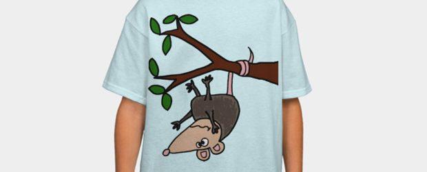 Funny Possum Hanging from Tree Cartoon t-shirt design