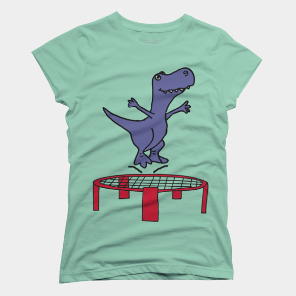 T-rex Dinosaur Jumping on Trampoline t-shirt design