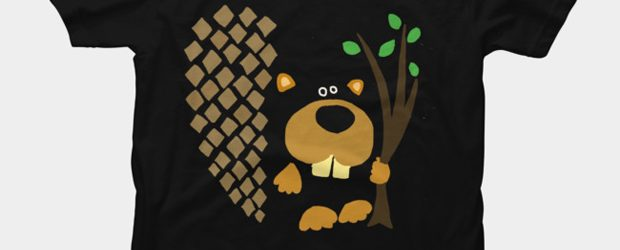 Funny Funky Beaver with Branch t-shirt design