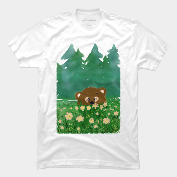 Bear in flowers t-shirt design