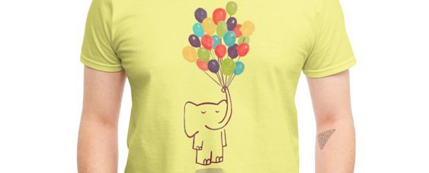 Elephant on balloon t-shirt design