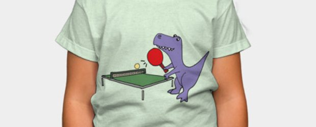 Funny T-rex Dinosaur Playing Table Tennis t-shirt design