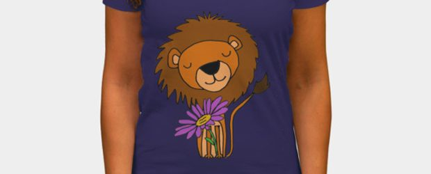 Lion with Purple Daisy Flower Cartoon t-shirt design