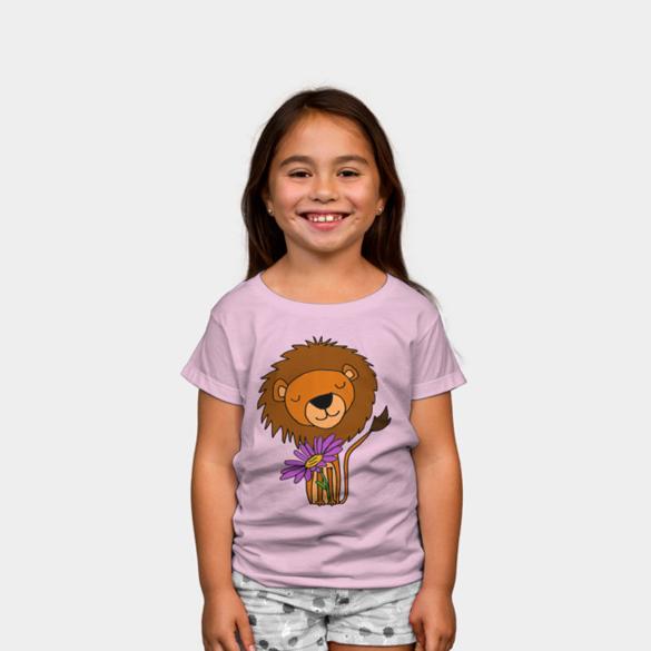 Lion with Purple Daisy Flower Cartoon t-shirt design