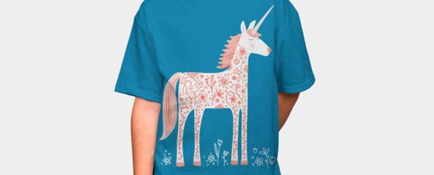 Unicorn with Flowers t-shirt design