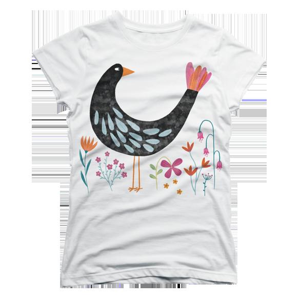 Bird with a Fancy Tail t-shirt design