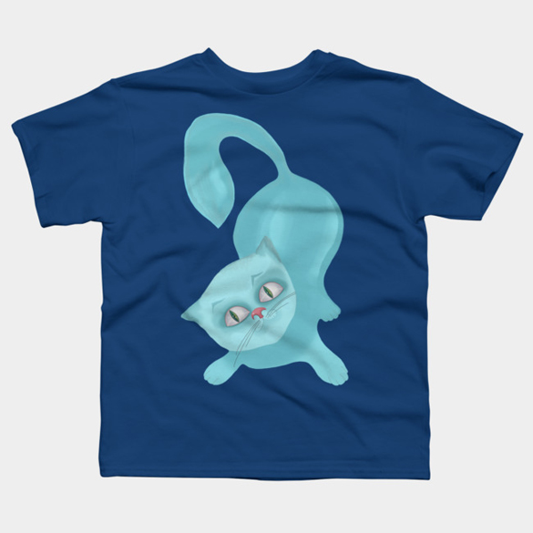 Blue cat t-shirt design