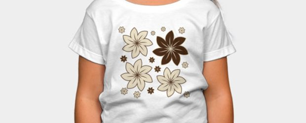 Brown floral t-shirt design