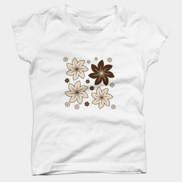 Brown floral t-shirt design
