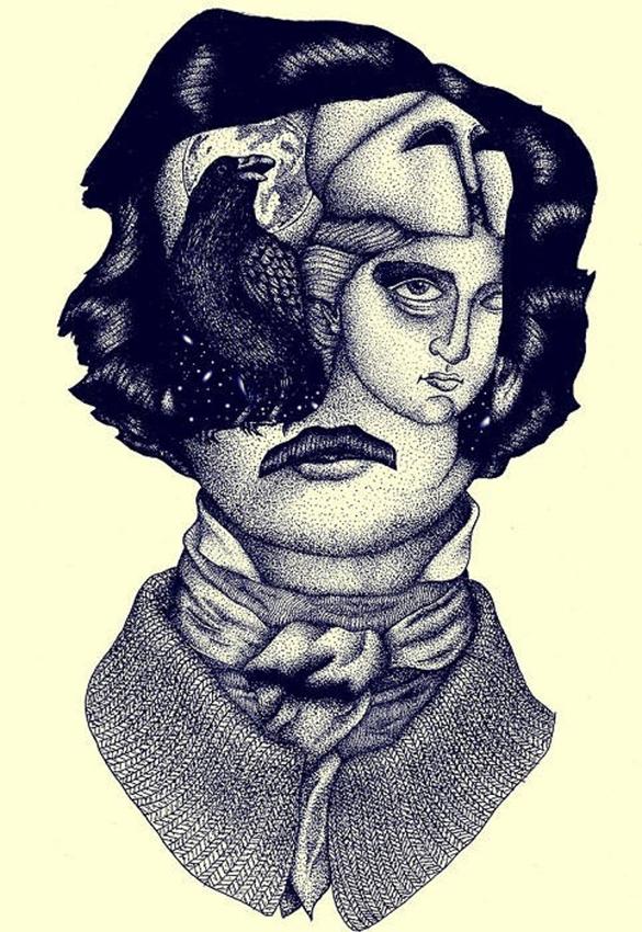 Edgar Allan Poe Mans t-shirt design