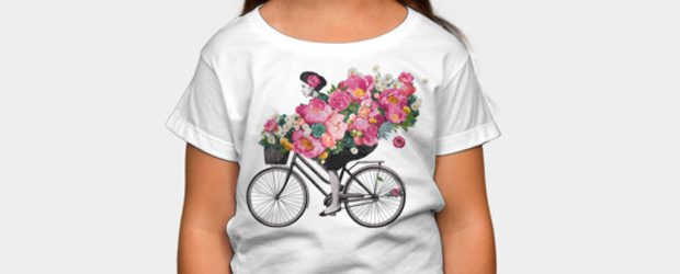Floral bicycle t-shirt design