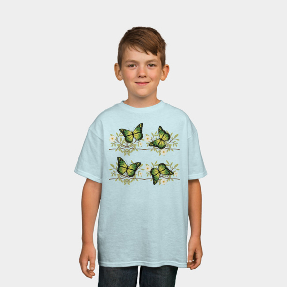 Four green butterflies t-shirt design