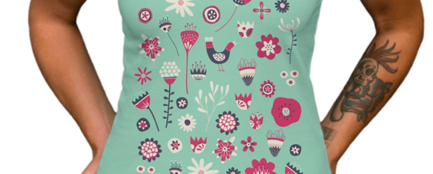 Scandi Birds and Flowers t-shirt design