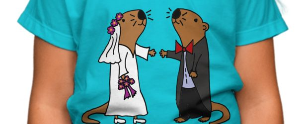 Sea Otter Bride and Groom Wedding t-shirt design