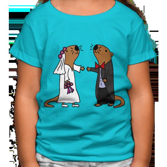 Sea Otter Bride and Groom Wedding t-shirt design