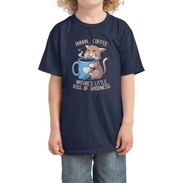Nature's Little Kiss of Goodness Funny Coffee Cat t-shirt design
