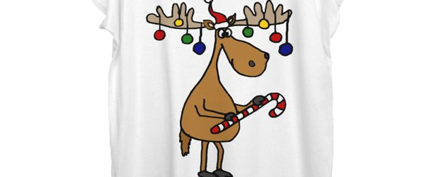 Moose with Christmas Ornaments Antlers t-shirt design