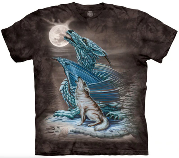 Dragon Wolf Moon Howling t-shirt design