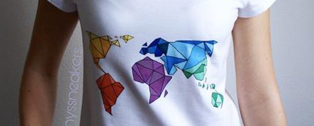 Geometric world map t-shirt design