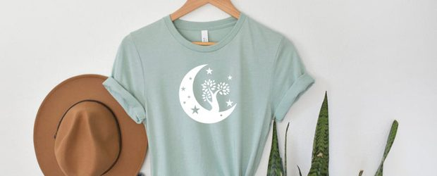Moon with tree and stars t-shirt design