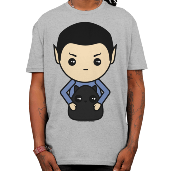 Star Trek Kawaii Spock and Cat t-shirt design