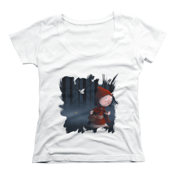 Little Red riding hood in the wood t-shirt design