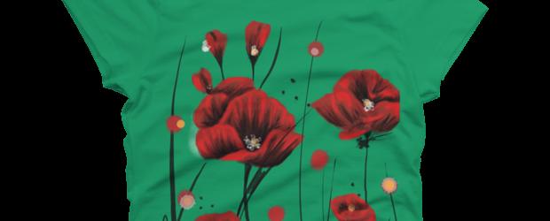 Fiery poppies t-shirt design