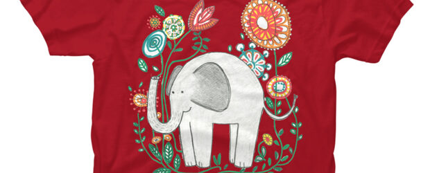 Elephant Among Flowers t-shirt design