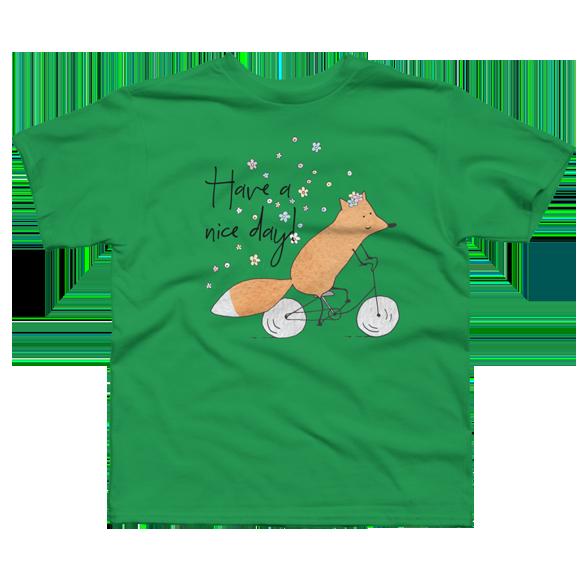 Spring bicycle fox t-shirt design