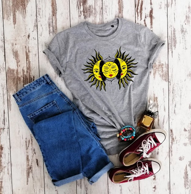 Sun and moon t-shirt design